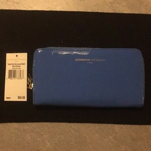 Adrienne Vittadini Blue Patent Leather Wallet